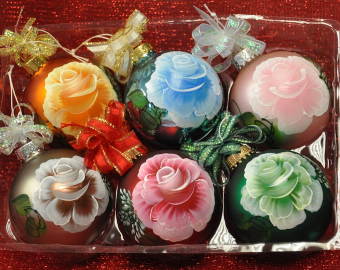 Hand painted Christmas Ornaments, Boxed set of 6