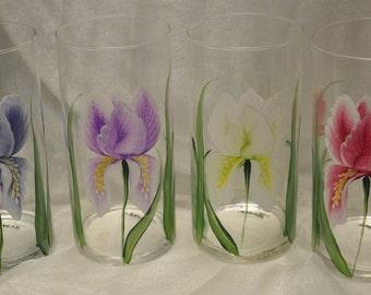 """7 1/2"""" Hand Painted  Cylinder Vase, Bearded Iris design"""