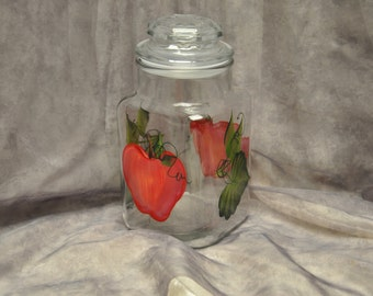 Hand painted, Red Apples Kitchen Canister