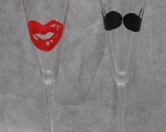 """10"""" Bride & Groom Flared Glass Toasting flutes, Lips and Mustache. Set of 2."""