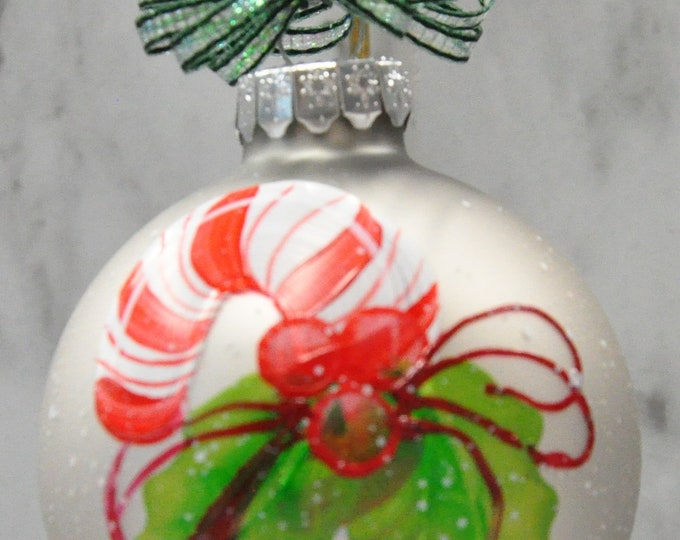 Single,  hand painted Candy Cane ornament