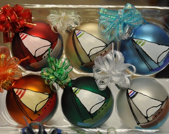 Single,  hand painted Sailboat ornament