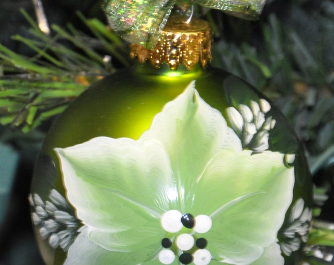 Single,  hand painted Poinsettia ornament