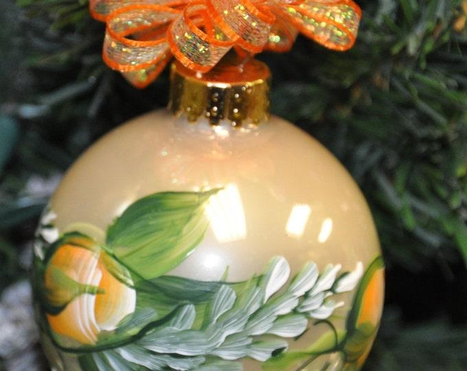 Single,  hand painted Rosebuds & Pine ornament