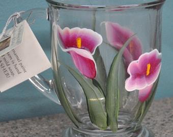 Hand painted, Calla Lily Glass Mugs