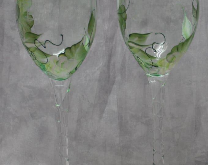 "10"" Bride & Groom Green Glass Toasting flutes, White rosebuds, Set of 2."