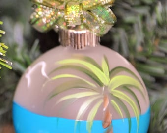 Single,  hand painted Tropical plam tree ornament