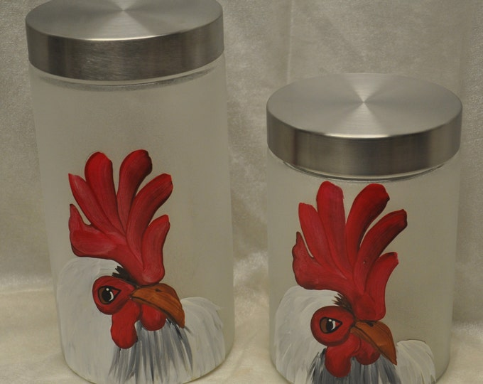 Hand painted, White Rooster Kitchen Canisters, set of 2
