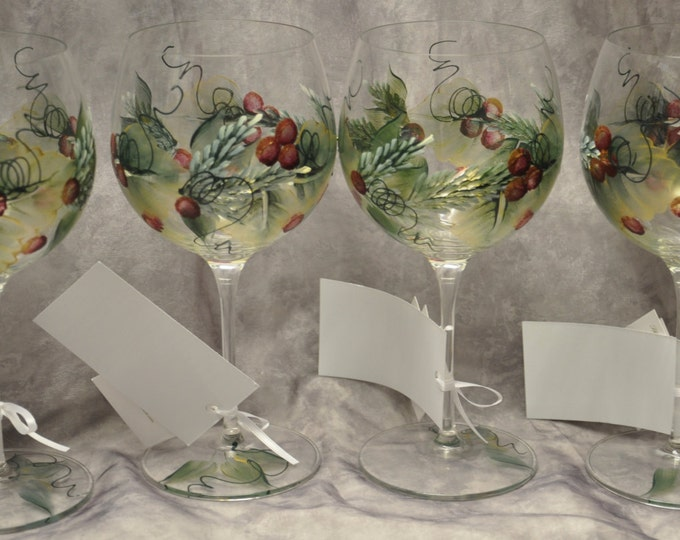 Hand Painted Holly and Berries wine glass