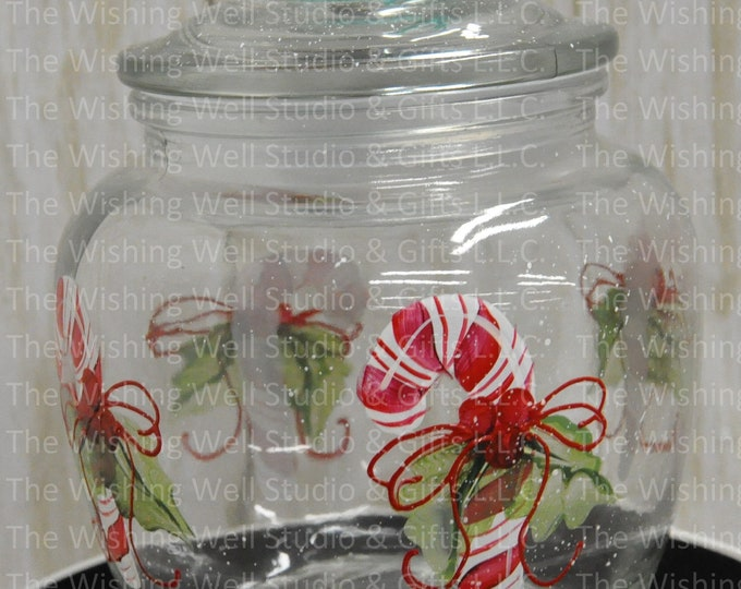 Hand painted, Candy Cane canister.