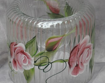 Hand painted, Cut glass votive holder. Brick rose, Violet lilacs, White daisy, Lavender rosebuds, Yellow lily, white calla lily, & dragonfly