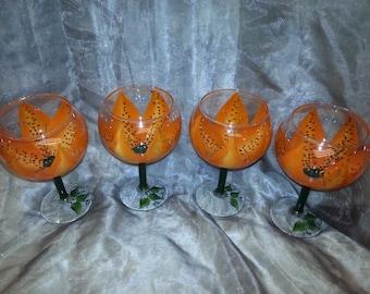3-Dimension, Tiger Lily Wine glasses, set of 4