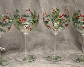 Hand Painted, Pine & Berries wine glass