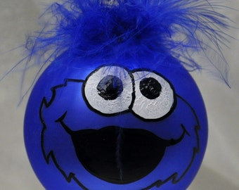 Single,  hand painted Cookie Monster ornament