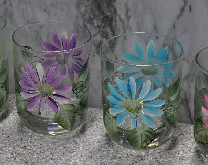Multi daisy tumblers, set of 4