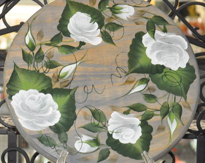 """12"""" Hand painted, Rose, wood lazy susan"""