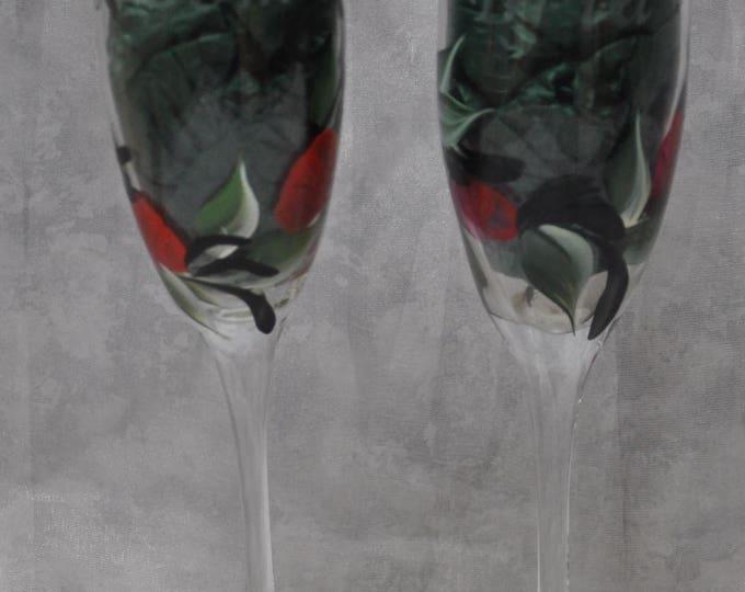 "8"" glass toasting flutes, Red rosebuds, Set of 2."