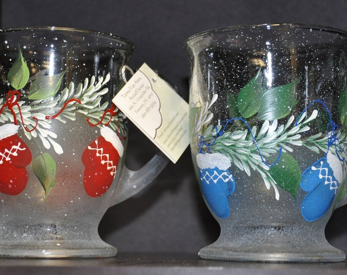 NEW Hand painted Mitten and pine boughs Mug
