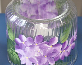 Hand painted, Cut glass votive holder. Lilacs, Pink Daisies, Aqua Daisies, or Purple Daisies.