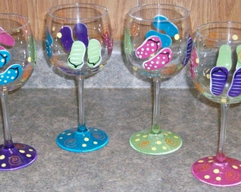 16 oz. Flip flop wine glasses, set of 4