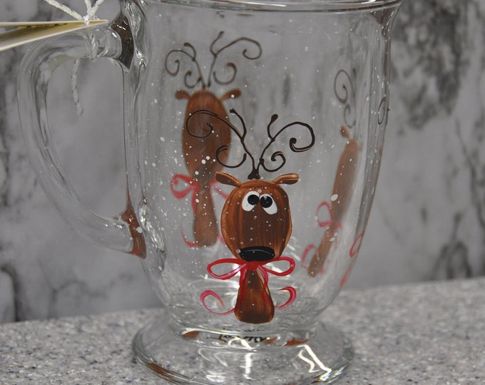 NEW Hand painted Reindeer Mug