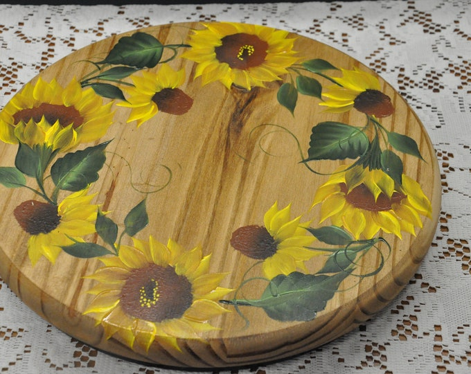 """12"""" Hand painted, Sunflower, wood lazy susan"""