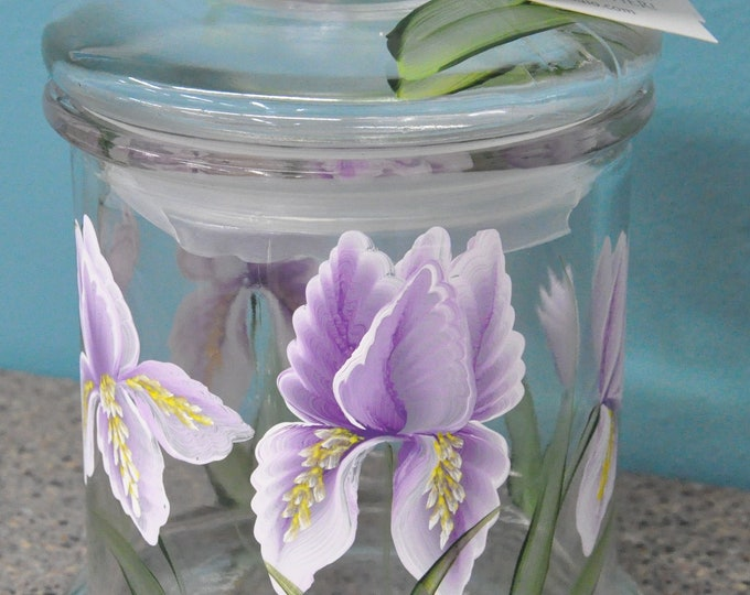 Hand painted, canister. Choice of Iris or Wild rose