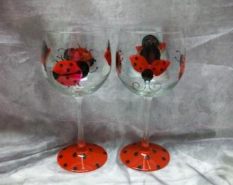 16 oz. Lady bug wine glass