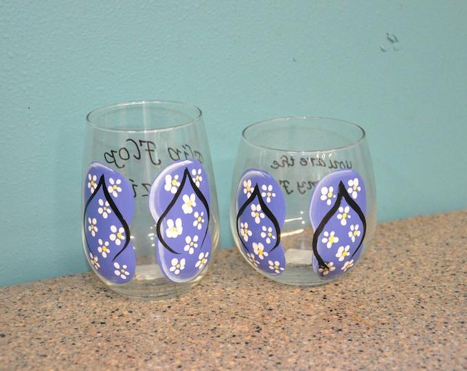 Single, Floral Flip Flop Wine glass