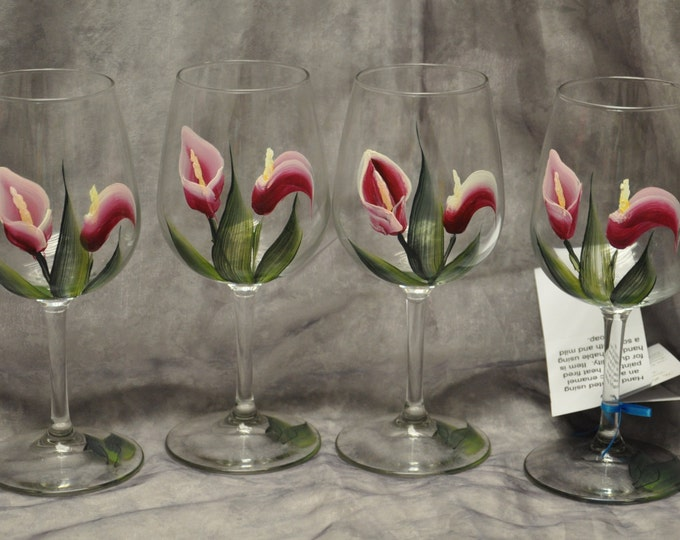Hand painted Calla Lily design wine glasses, set of 4