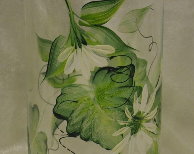 "7 3/8"" Hand Painted  Cylinder Vase, White daisies design"