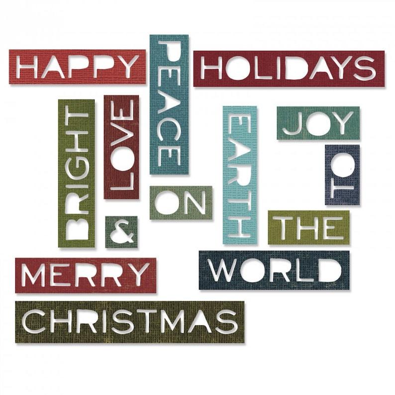 Thin Item #661601 Holiday Words #2 Sizzix Thinlits Die Set 14PK