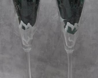 "10"" Bride & Groom Flared Glass Toasting flutes, White Ivy. Set of 2."