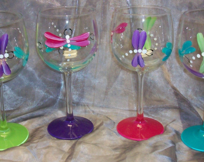 Hand painted Dragonfly wine glasses, set of 4