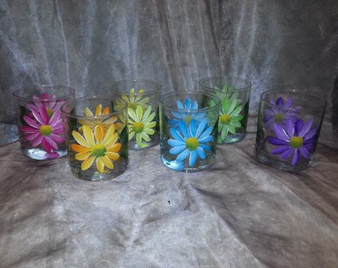 Hand Painted, Multi colored Daisy glasses, set of 6
