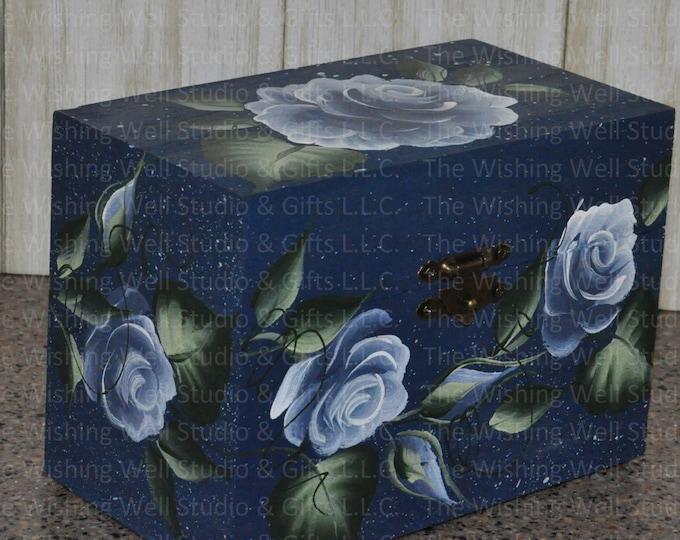 Hand painted wooden recipe/address box