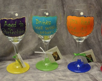 18 oz. Hand painted, wine phrase glass