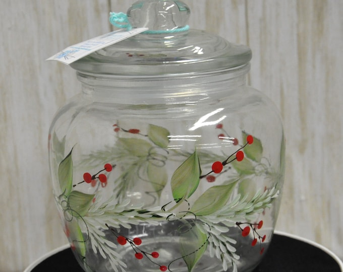 Hand painted, Pine n' Berries canister.