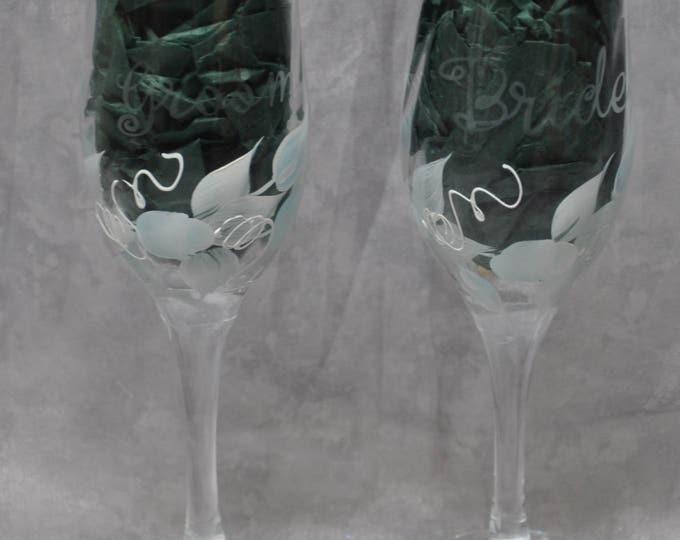 "8"" Swirl glass toasting flutes, light blue rosebuds, Set of 2."