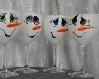 Hand Painted, Snowman Face wine glass