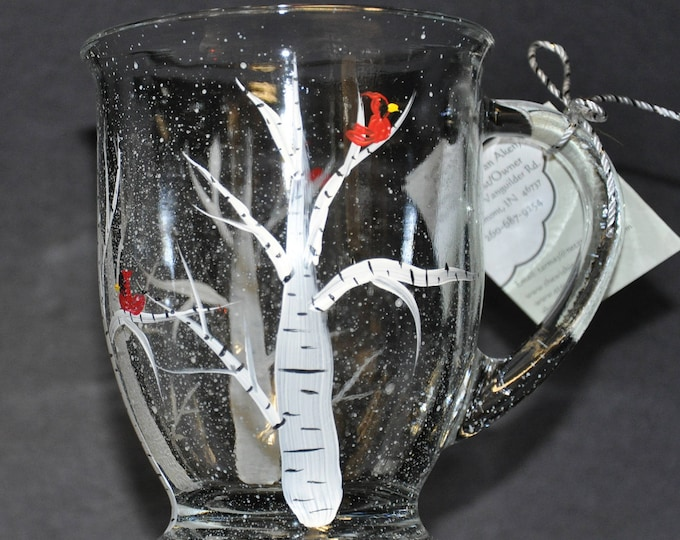 NEW Hand painted Birch tree & Cardinal Mug