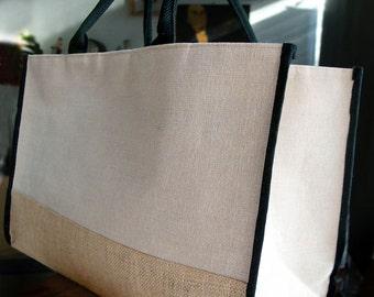 d2c30fd6e5b9 Jute Tote Bag w  Black Cotton   Jute Accents 17.5