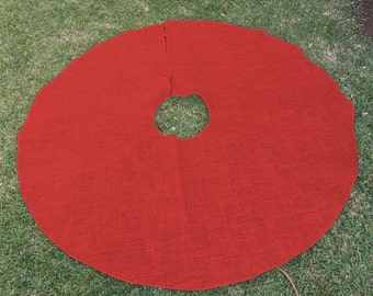 "60"" Red Burlap Christmas Tree Skirt (10 pack)"