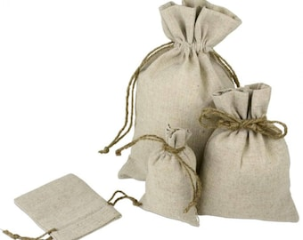 8 x 10 Linen Bags With Jute Drawstring (5 Pack)