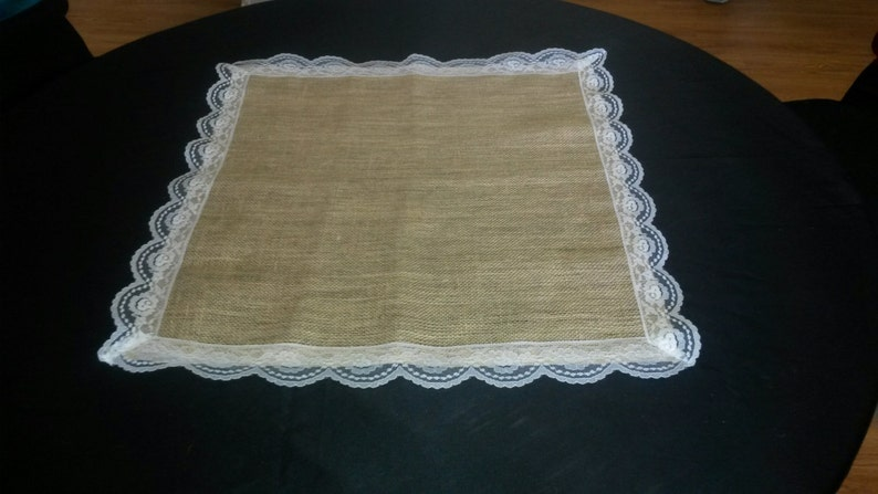 Burlap Square with White Lace 72 x 72