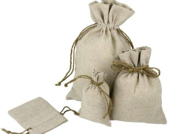5 x 7 Linen Bags With Jute Drawstring (36 Pack)