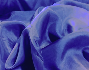 """Royal Blue Voile Fabric 118"""" Wide By The Yard 100% Polyester"""