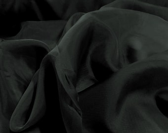 """Black Voile Fabric 118"""" Wide By The Yard 100% Polyester"""