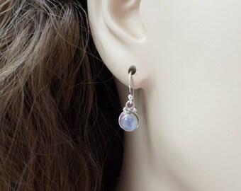 Moonstone Earrings Sterling Silver Drop Earrings Rainbow Moonstone Round Dangle Earrings Moonstone Jewelry