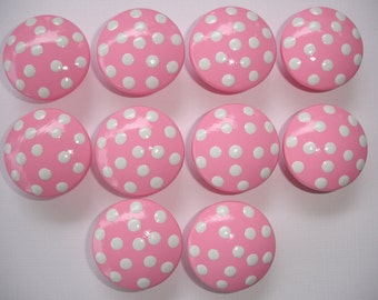 Set of 10 Hand Painted Bright Pink and White Polka Dot Dresser Drawer Knobs